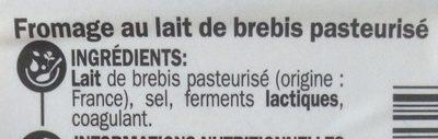 Fromage de brebis tranche 22% Mat. Gr. - Ingrediënten - fr