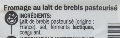 Fromage de brebis tranche 22% Mat. Gr. - Ingrediënten