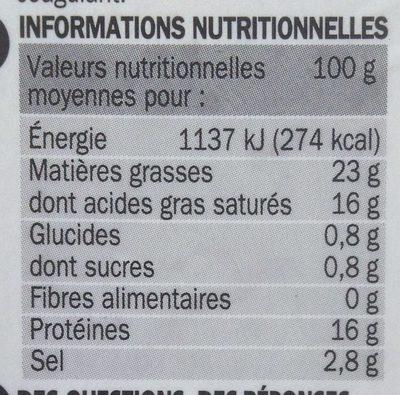 Fromage de brebis tranche 22% Mat. Gr. - Voedigswaarden