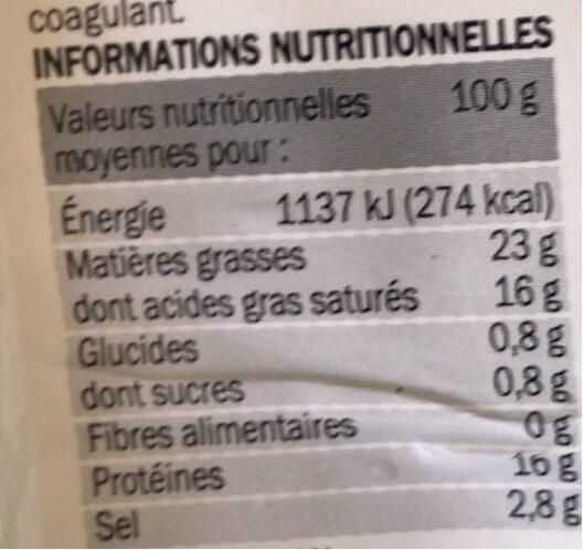 Fromage de brebis tranche 22% Mat. Gr. - Voedingswaarden - fr