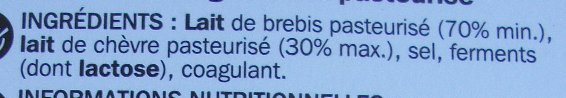 Feta en tranches 24,2% Mat. Gr. - Ingredients
