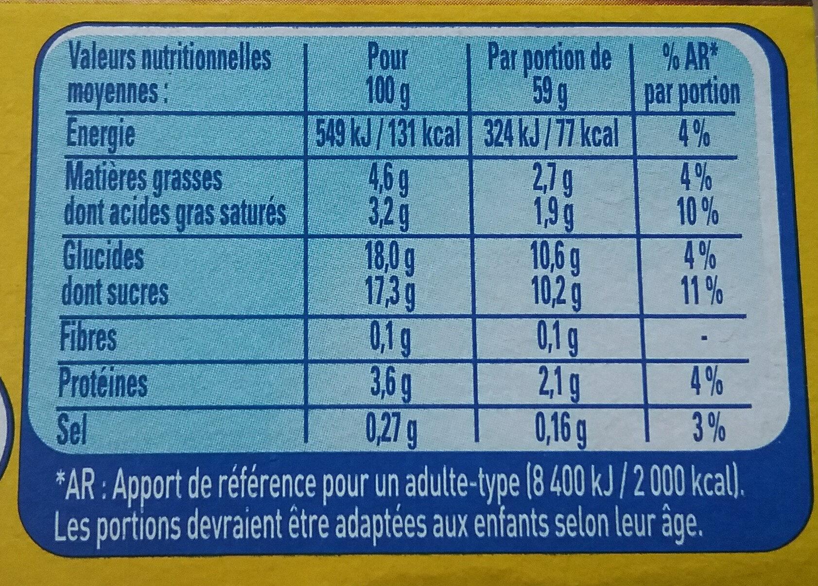 Petit pot de crème pistache - Nutrition facts