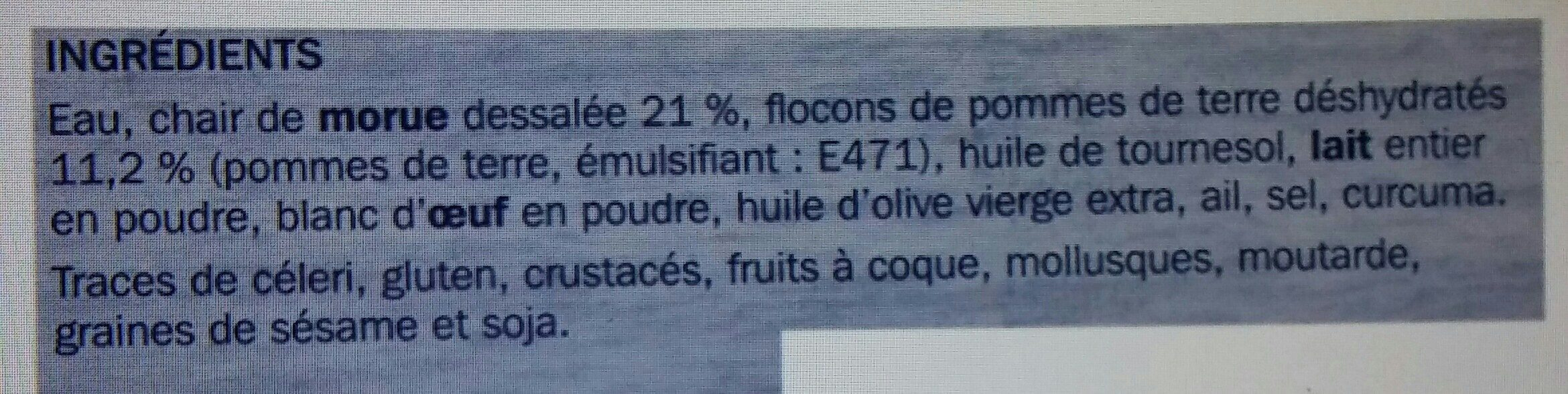 Brandade de morue - Ingredients