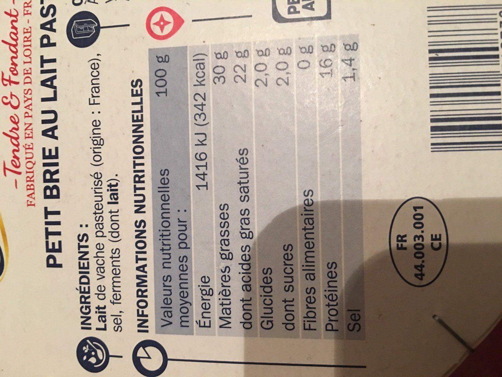 Petit brie 30%MG - Ingredients - fr