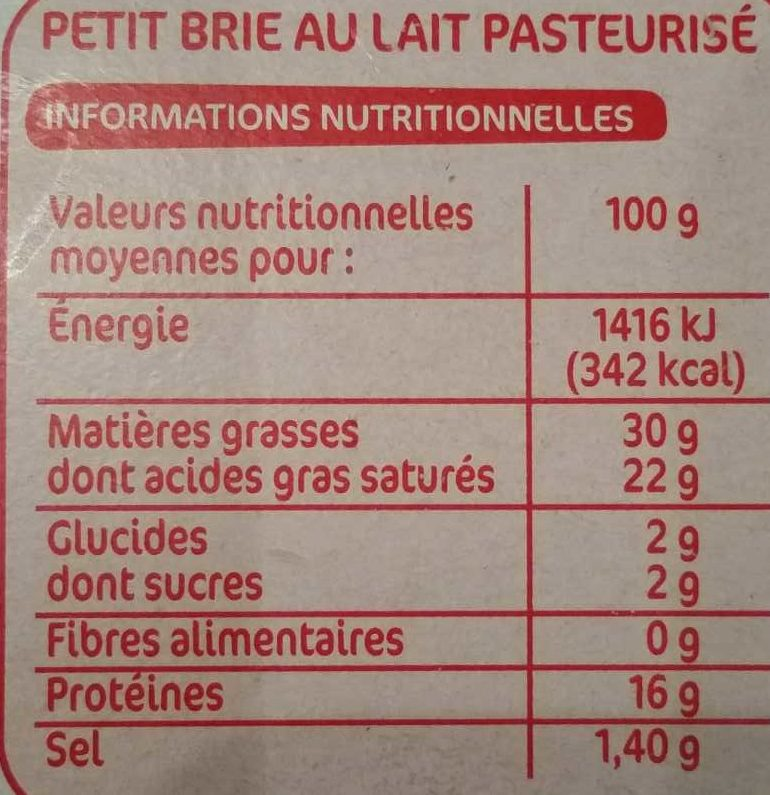 Petit brie 30%MG - Nutrition facts - fr