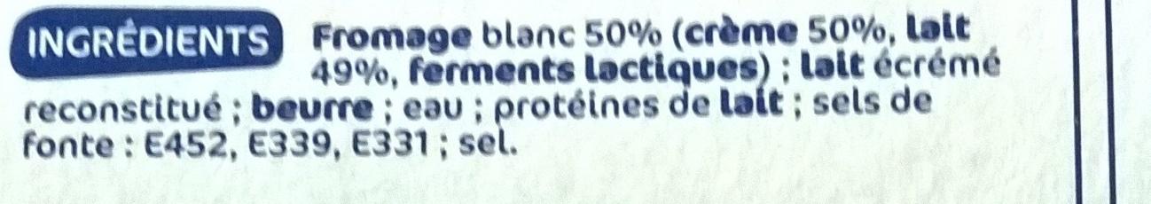 Fromage blanc fondu à la crème 31,4% Mat. Gr. 12 portions - Ingrediënten - fr