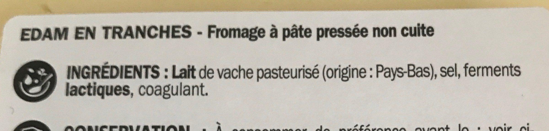 Edam tranchettes 23,9% MG - Ingrediënten - fr