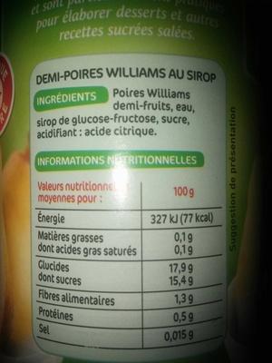 Poires william 1/2 fruits au sirop - Produit