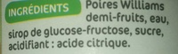 Poires william 1/2 fruits au sirop - Ingrédients