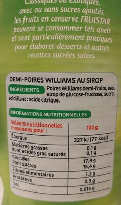 Poires williams sirop - Informations nutritionnelles - fr