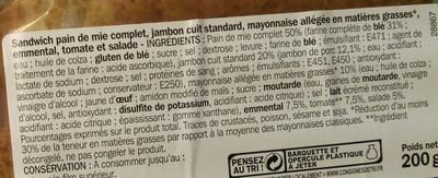 Sandwich maxi jambon/emmental crudités - Ingredients