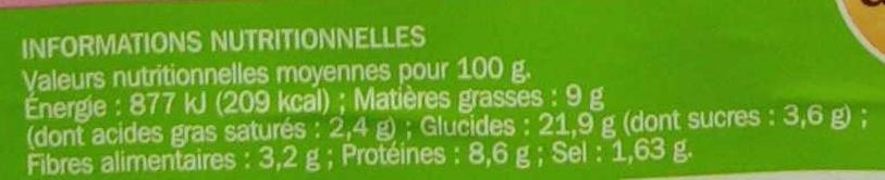 Sandwich maxi jambon/emmental crudités - Nutrition facts