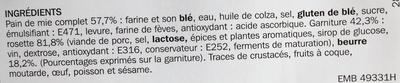 Sandwich à la rosette de Lyon - Ingredients - fr