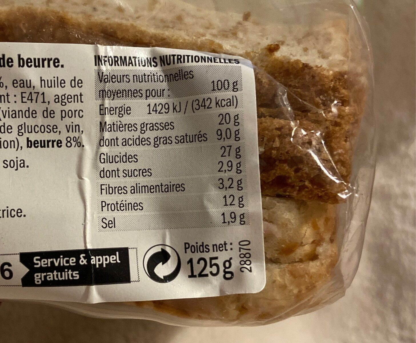 Sandwich à la rosette de Lyon - Nutrition facts - fr