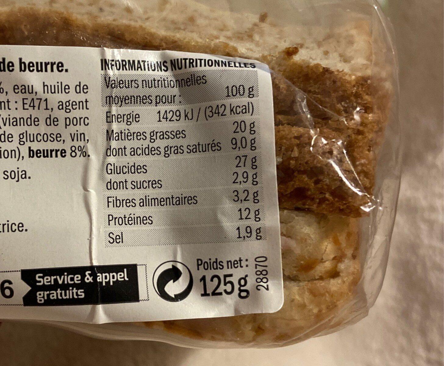 Sandwich à la rosette de Lyon - Voedingswaarden - fr