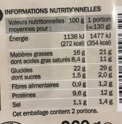 Quiches lorraine à la crème - Voedingswaarden - fr