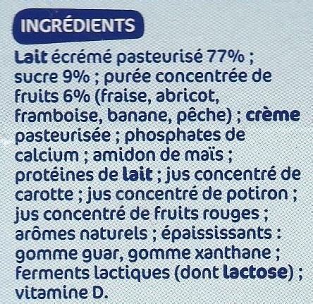 Fromages frais aux fruits Petits Delis - Ingrédients - fr