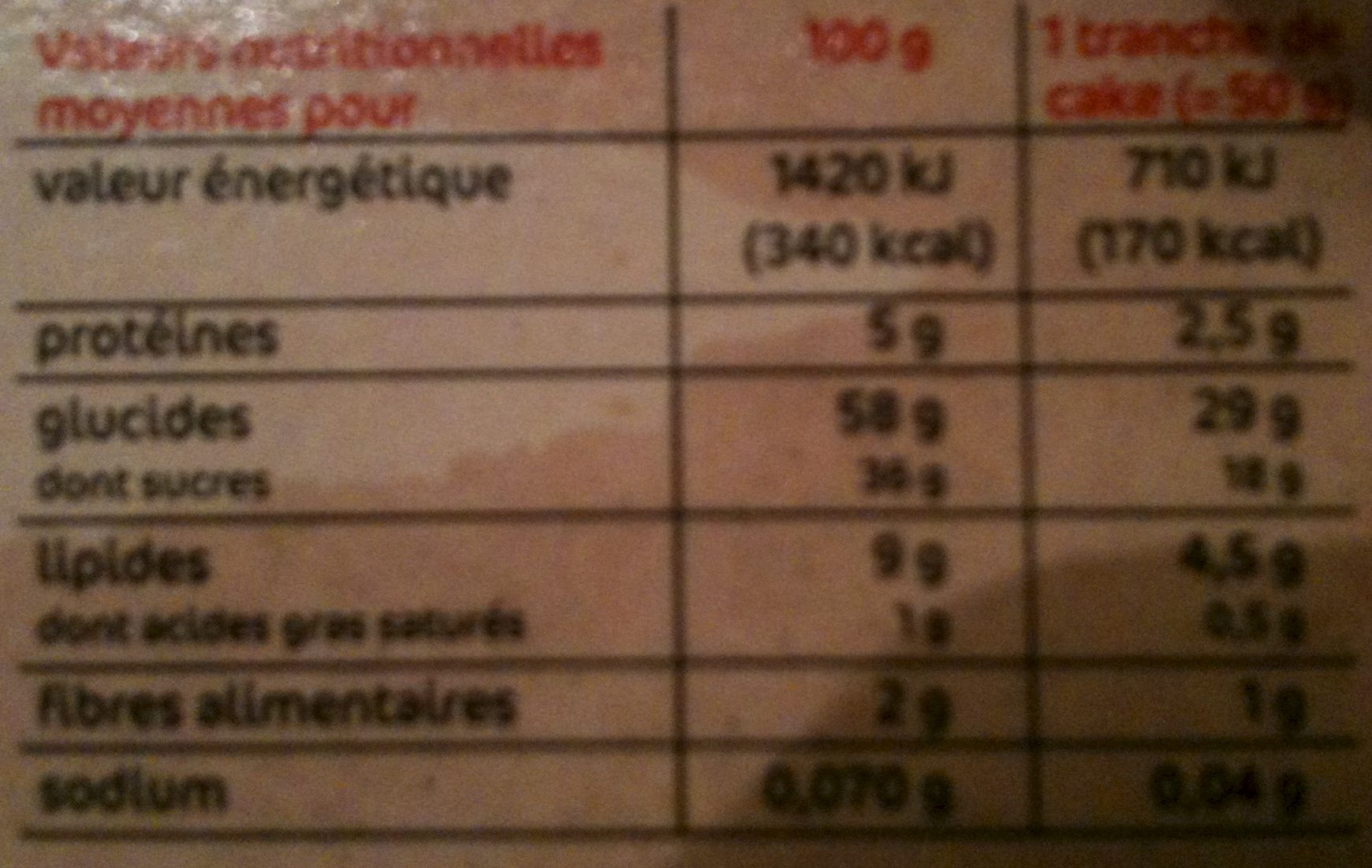 Cake aux fruits - Nutrition facts