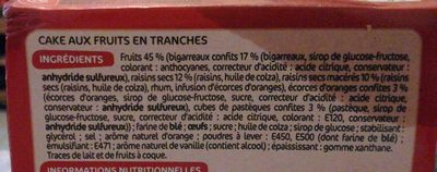 Cake aux fruits bloc 45% - Ingredients