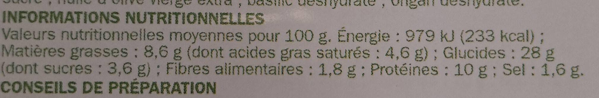 Pizza lardons et chèvre - Informations nutritionnelles - fr