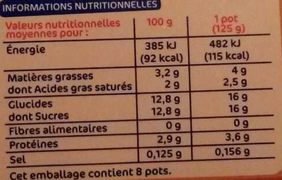 Yaourt au lait entier, Saveur vanille (8 pots) - Información nutricional