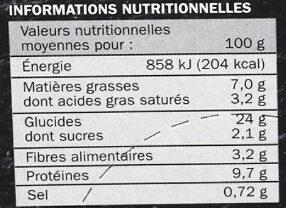 Pizza Cuite sur pierre Bolognaise - Informations nutritionnelles - fr