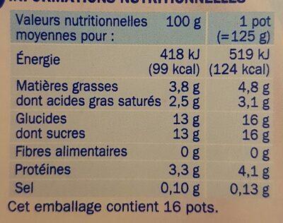 Yaourts crémeux panachés - Informations nutritionnelles