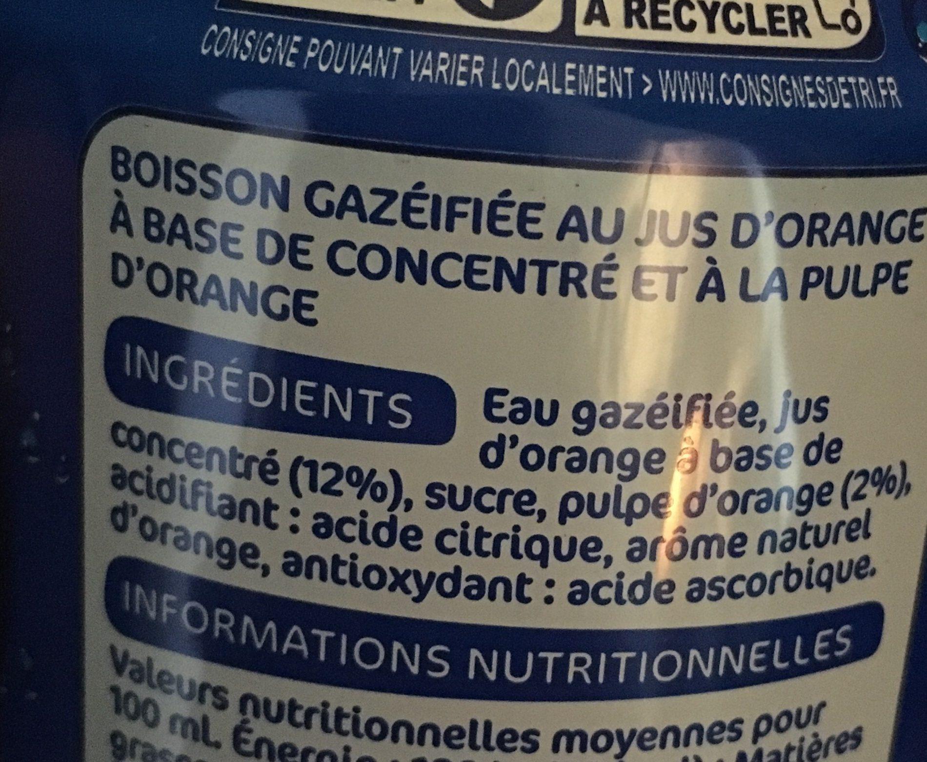 Canette Pulp'orange à La Pulpe D'orange - Ingrediënten