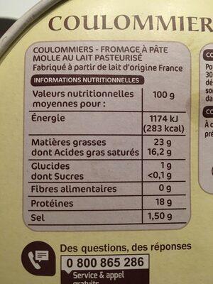 Coulommiers de pays 23% Mat. Gr. - Ingredients - fr
