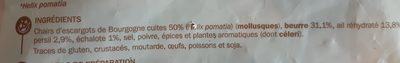 Escargots belle grosseur x48 surgelés - Ingrédients - fr