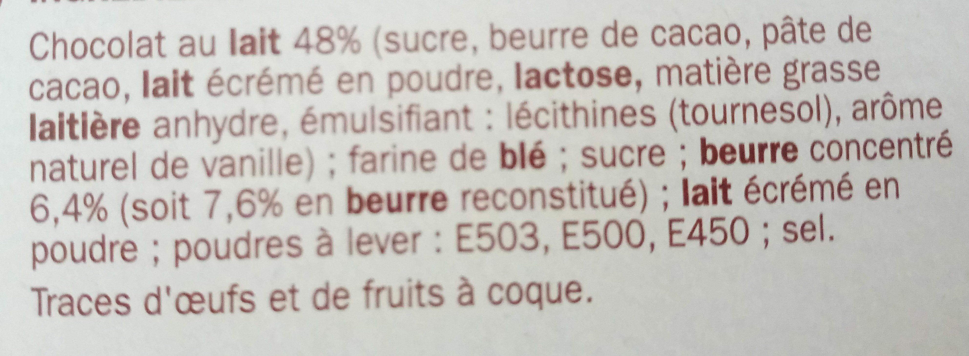 Biscuits tablette chocolat au lait - Ingrediënten - fr