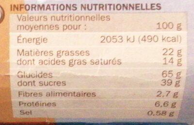 Biscuits tablette chocolat au lait - Voedingswaarden - fr