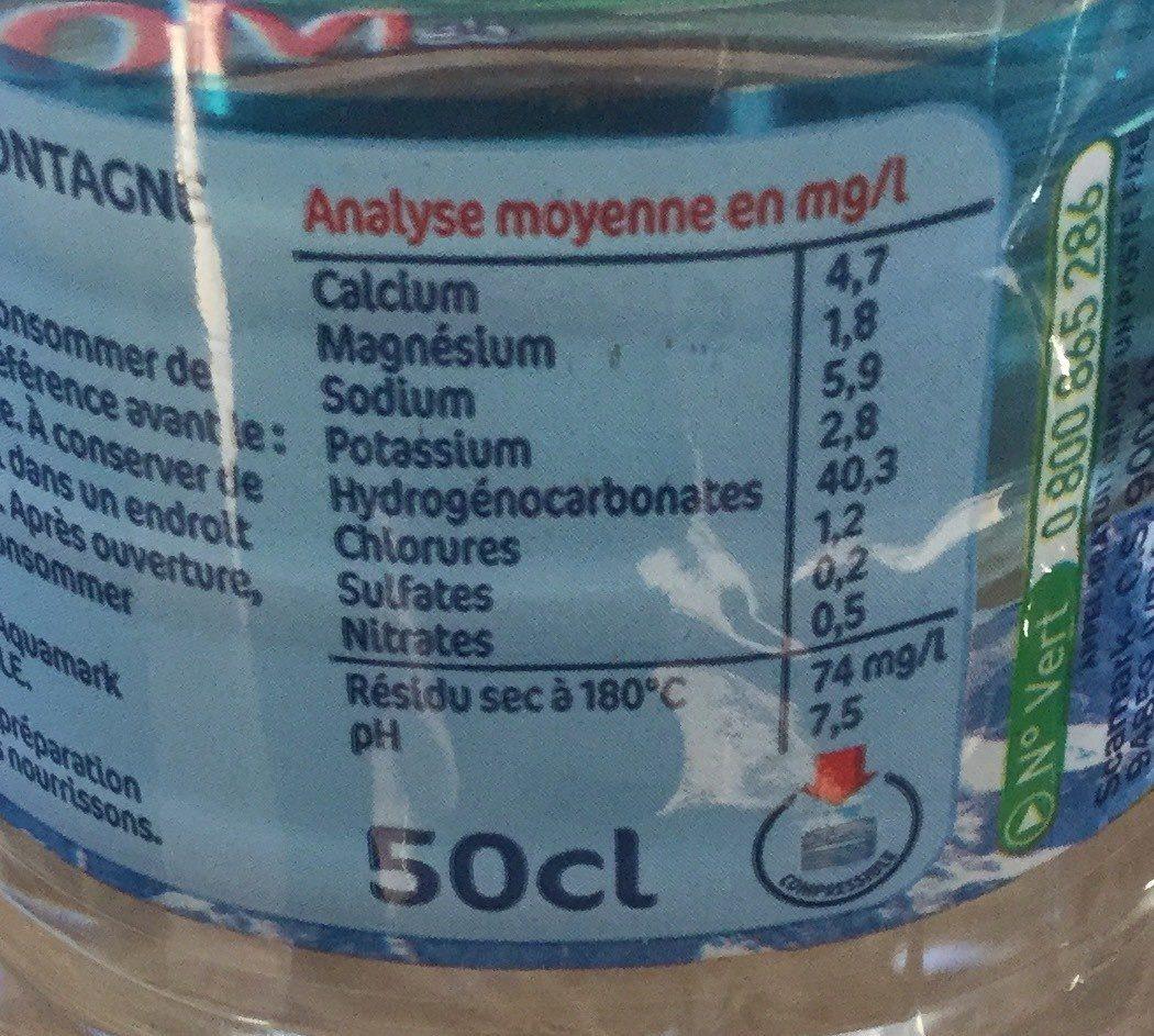 Eau de source de Montagne - Nutrition facts