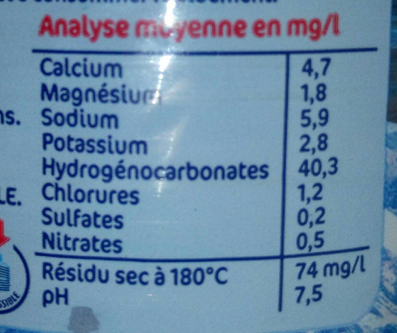 Eau de source de montagne Laqueuille - Informations nutritionnelles - fr