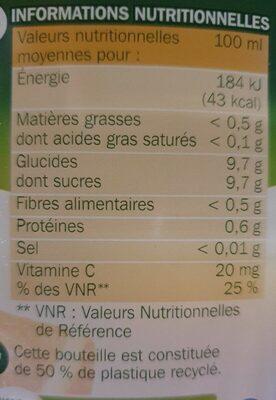 Pur jus d'orange - Nutrition facts - fr
