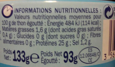 Thon naturel albacore en tranche - Informations nutritionnelles - fr