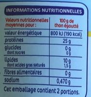 Thon entier à l'huile de tournesol - Nutrition facts - fr