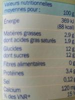 Lait fermenté Actifidus saveur noix de coco - Información nutricional