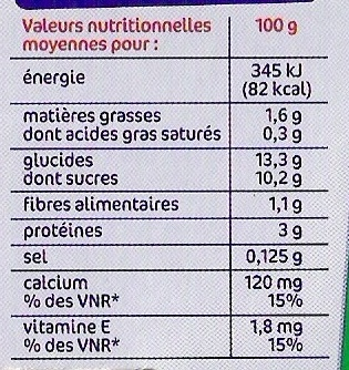 Spécialité au soja saveur vanille - Informations nutritionnelles - fr
