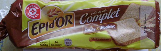 Pain de mie Complet tranché Tendre & Moelleux (24 tranches) - Produit