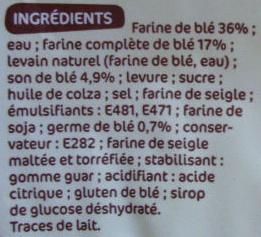 Pain de mie Complet tranché Tendre & Moelleux (24 tranches) - Ingrédients