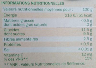 Dessert de fruits pomme/poire sans sucre ajouté - Nutrition facts