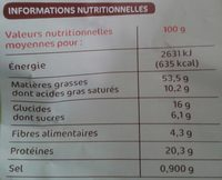 Pistaches grillées à sec - Informations nutritionnelles