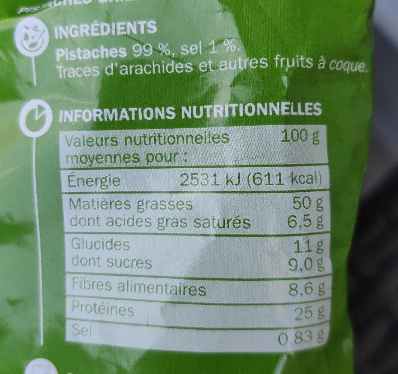 Pistaches grillées à sec - Nutrition facts - fr