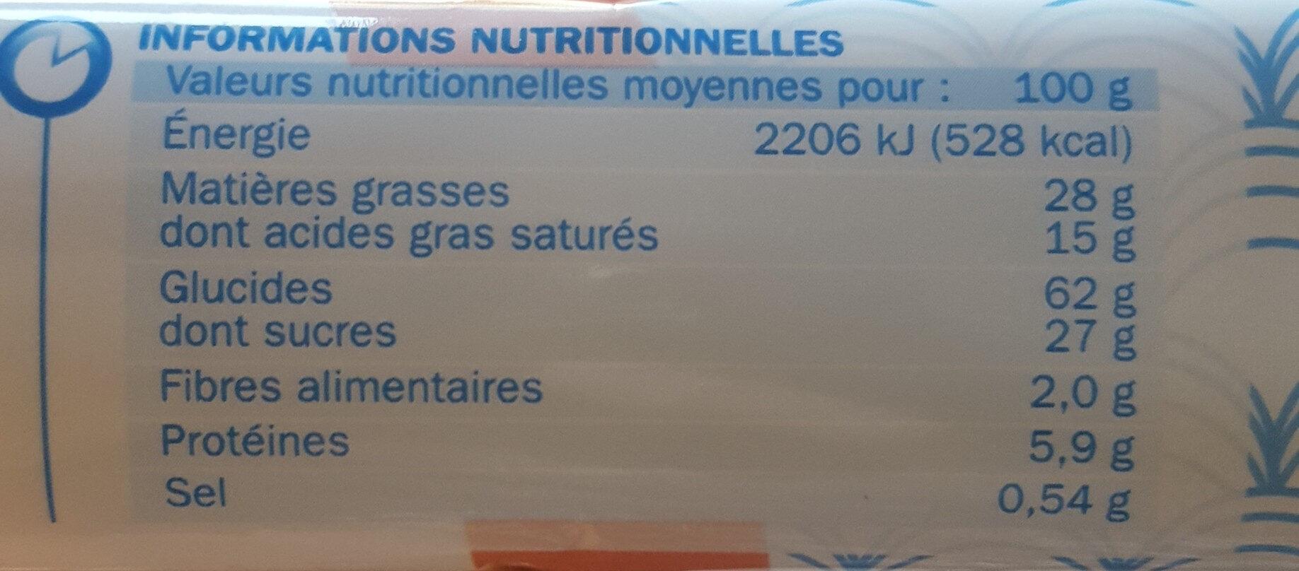 Sprits nappés de chocolat au lait - Informations nutritionnelles