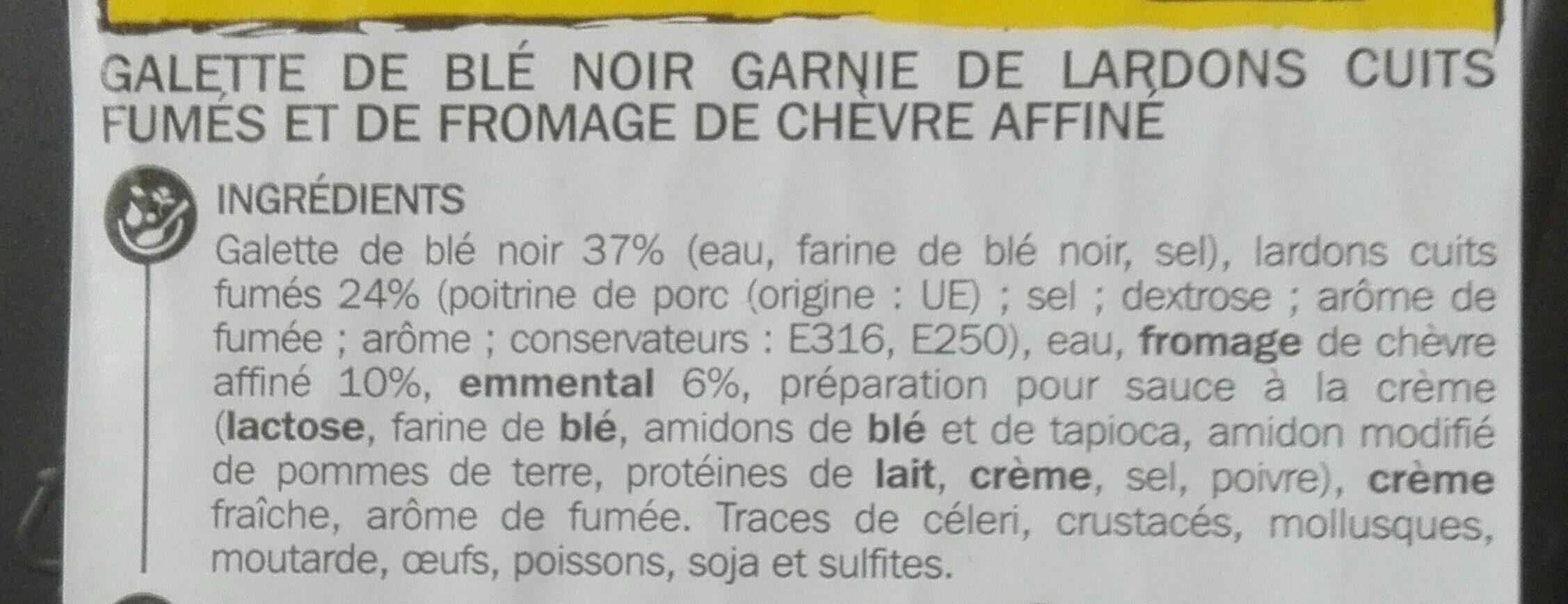 Galette chèvre lardons au blé noir - Ingredients - fr