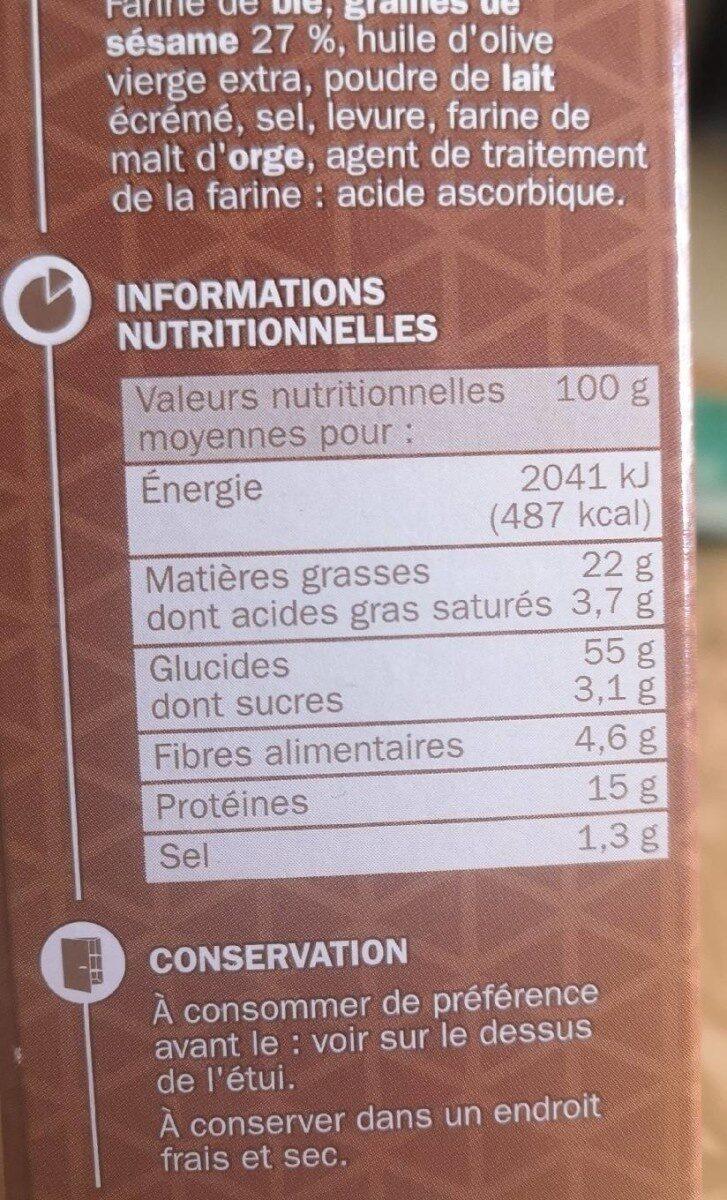 Gressins Sésame - Voedingswaarden - fr