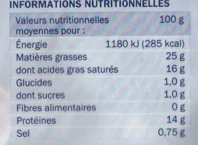 Mozzarella di Buffala 23% Mat. Gr. - Nutrition facts - fr