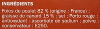 Foies de Volaille - Inhaltsstoffe - fr
