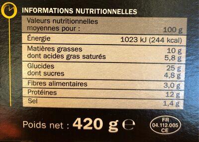 Pizza 3 fromages cuite au feu de bois - Nutrition facts - fr